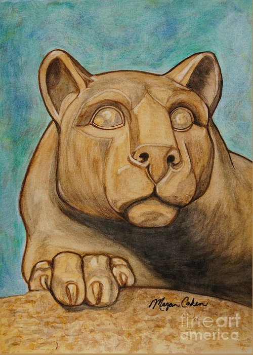 Lion Greeting Card featuring the painting Nittany Lion by Megan Cohen