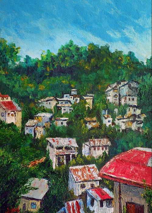 Nivel Hills Greeting Card featuring the painting Nivel Hills Cebu by Michael Jadach