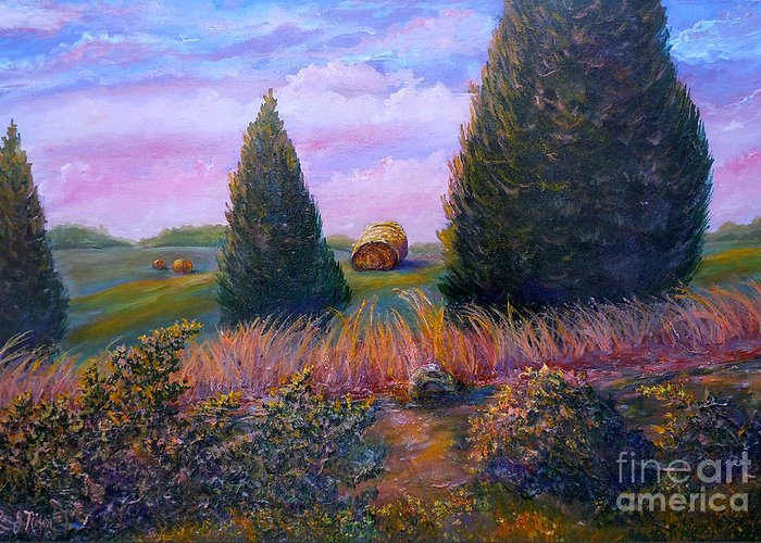 Landscape Greeting Card featuring the painting Nixon's Early Morning View On Old Rapidan Road by Lee Nixon