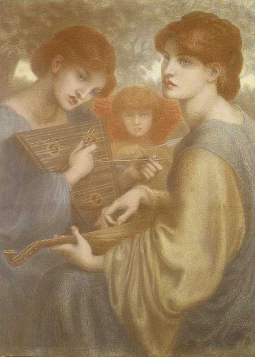 Pre-raphaelite Greeting Card featuring the drawing No. 1011 Study For The Bower Meadow by Dante Gabriel Charles Rossetti