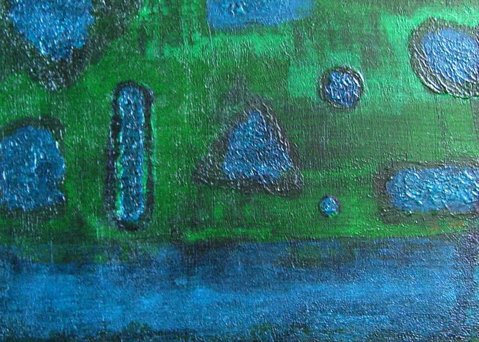Abstract Greeting Card featuring the painting No. 404 by Vijayan Kannampilly