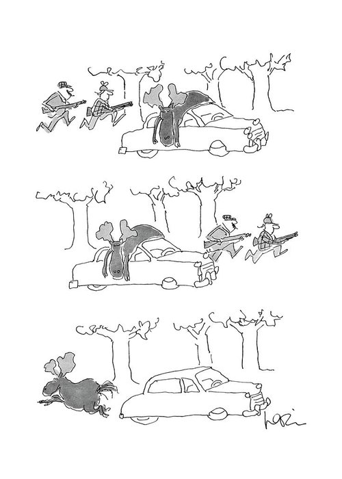 (series(3). Moose Lies On Car Roof. Hunters Rush Into Woods. Moose Runs Away.)animals Greeting Card featuring the drawing No Caption by Arnie Levin