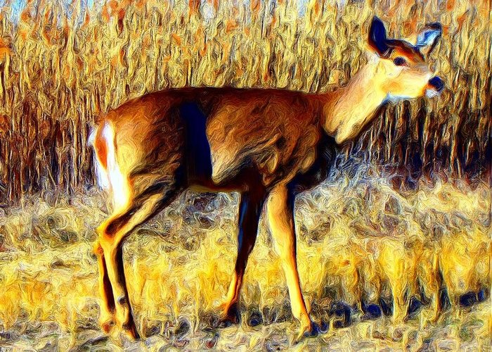 Deer Greeting Card featuring the photograph no fear II by Steve Doris