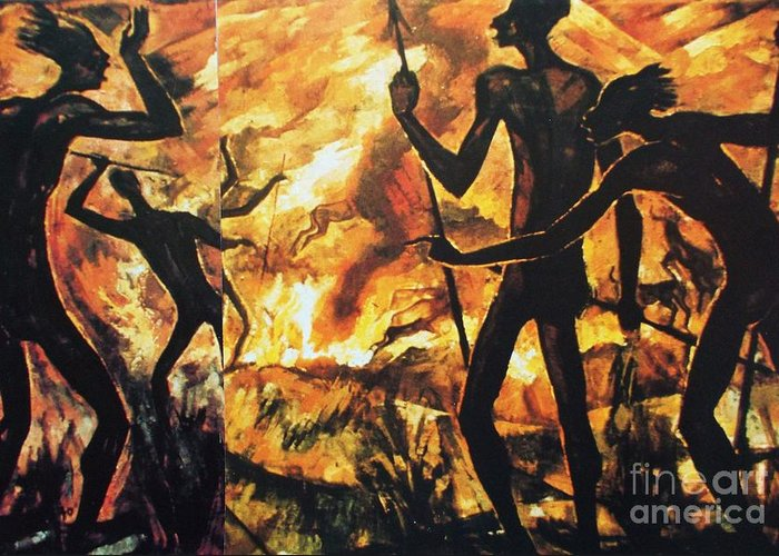 Pd Greeting Card featuring the painting No Fire For The Antelopes by Pg Reproductions