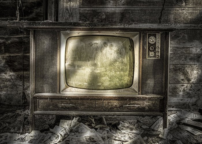 Vintage Greeting Card featuring the photograph No One's Watching - Vintage Television In An Old Barn by Gary Heller