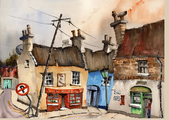 Val Byrne Greeting Card featuring the painting No Parking Bunratty Clare by Val Byrne