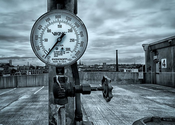 Valve Greeting Card featuring the photograph No Pressure Or The Valve At The Top Of The City by Bob Orsillo