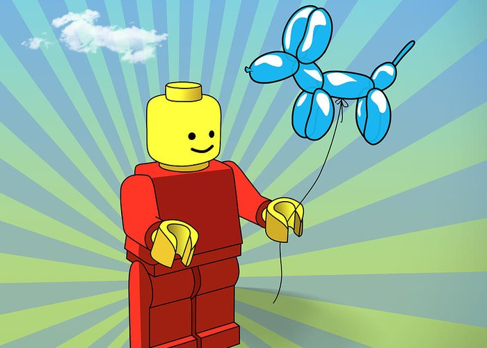 Lego Greeting Card featuring the digital art No Real Then You Are by Mark Ashkenazi
