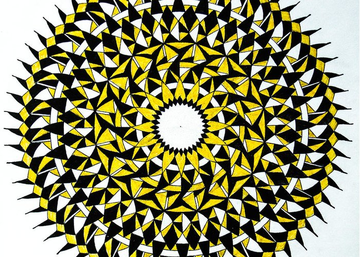 #mandala #geometry #circle #yellow Greeting Card featuring the drawing No Rest For The Wicked by Skaiste Kodyte