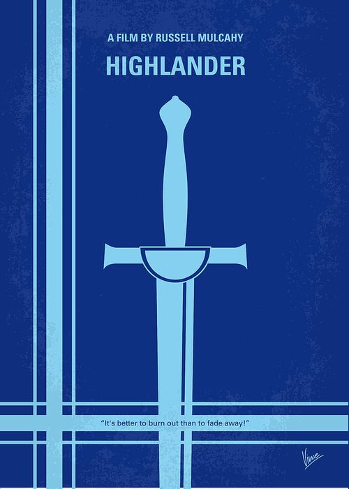 Highlander Greeting Card featuring the digital art No034 My Highlander Minimal Movie Poster.jpg by Chungkong Art
