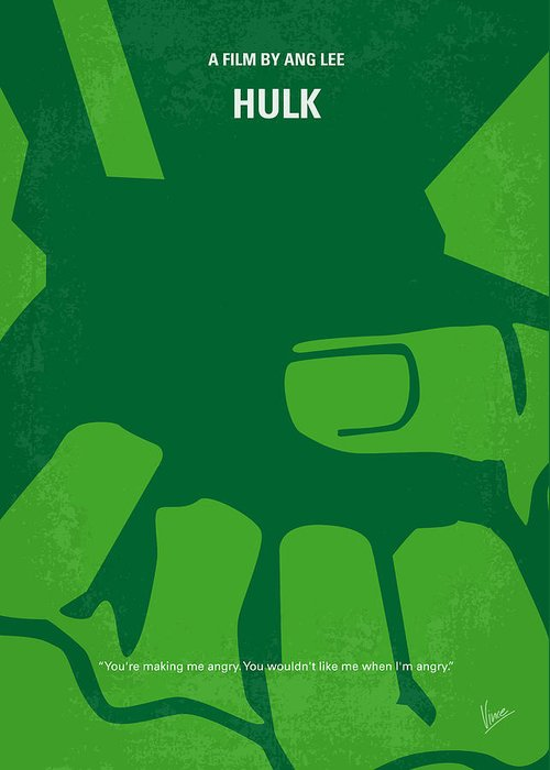 Hulk Greeting Card featuring the digital art No040 My Hulk Minimal Movie Poster by Chungkong Art