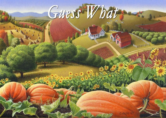 Greeting Greeting Card featuring the painting no10 Guess What by Walt Curlee
