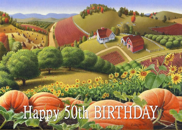 Greetings Greeting Card featuring the painting No10 Happy 50th Birthday Greeting Card by Walt Curlee