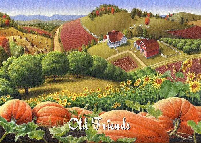 Greeting Card featuring the painting No10 Old Friends Greeting Card by Walt Curlee
