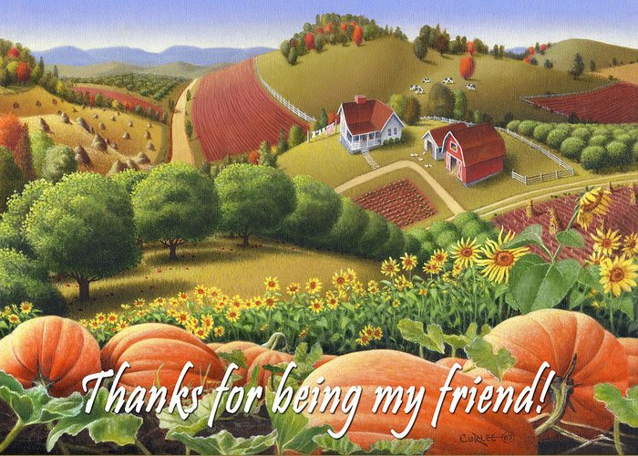 Friends Greeting Card featuring the painting No10 Thanks For Being My Friend Greeting Card by Walt Curlee