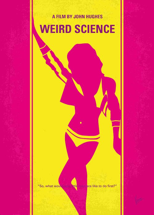 Weird Greeting Card featuring the digital art No106 My Weird Science Minimal Movie Poster by Chungkong Art