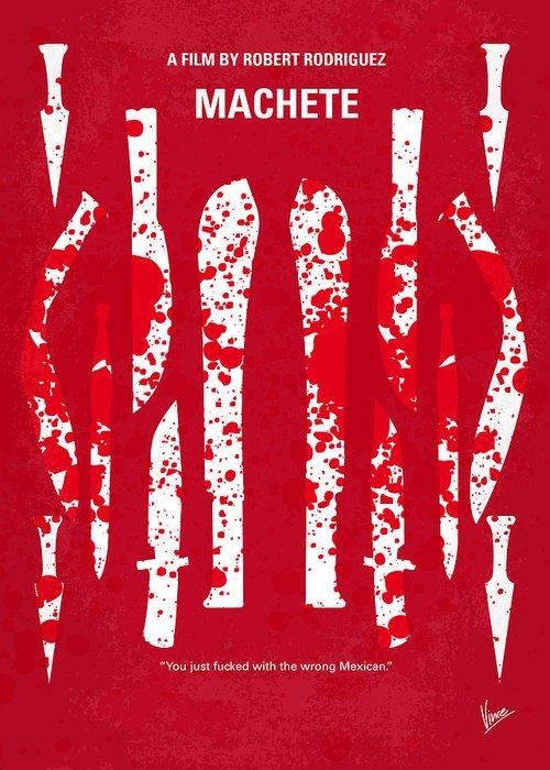 Machete Greeting Card featuring the digital art No114 My Machete Minimal Movie Poster by Chungkong Art