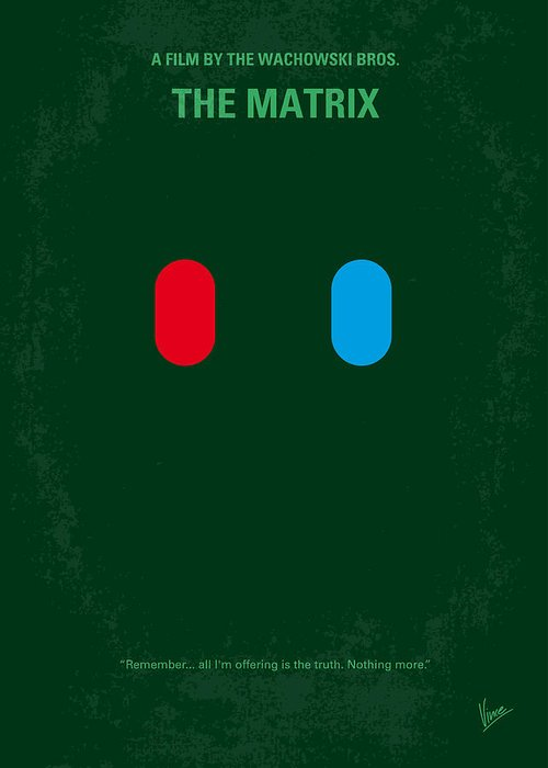 Matrix Greeting Card featuring the digital art No117 My Matrix Minimal Movie Poster by Chungkong Art