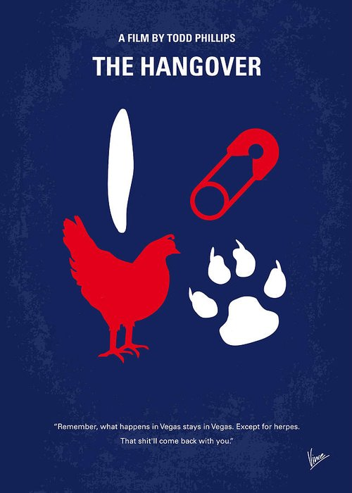Hangover Greeting Card featuring the digital art No145 My The Hangover Minimal Movie Poster by Chungkong Art