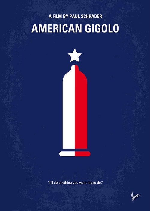 American Greeting Card featuring the digital art No150 My American Gigolo Minimal Movie Poster by Chungkong Art
