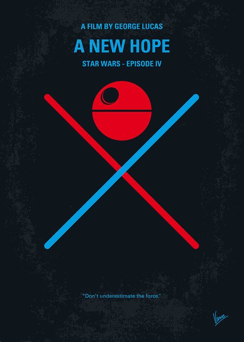 Star Greeting Card featuring the digital art No154 My Star Wars Episode Iv A New Hope Minimal Movie Poster by Chungkong Art