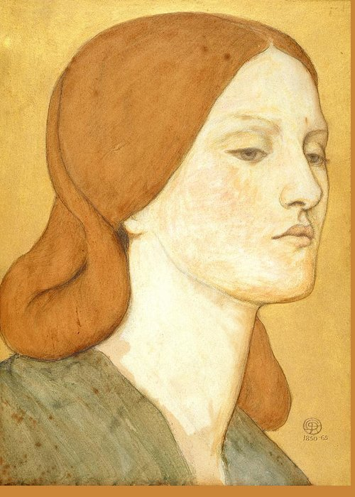 Pre-raphaelite Greeting Card featuring the painting No.1575 Head Of A Girl In A Green Dress by Dante Gabriel Charles Rossetti
