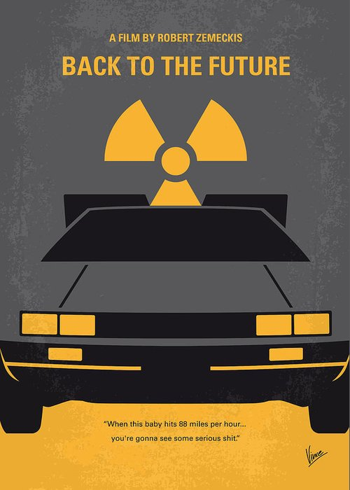 Back Greeting Card featuring the digital art No183 My Back to the Future minimal movie poster by Chungkong Art