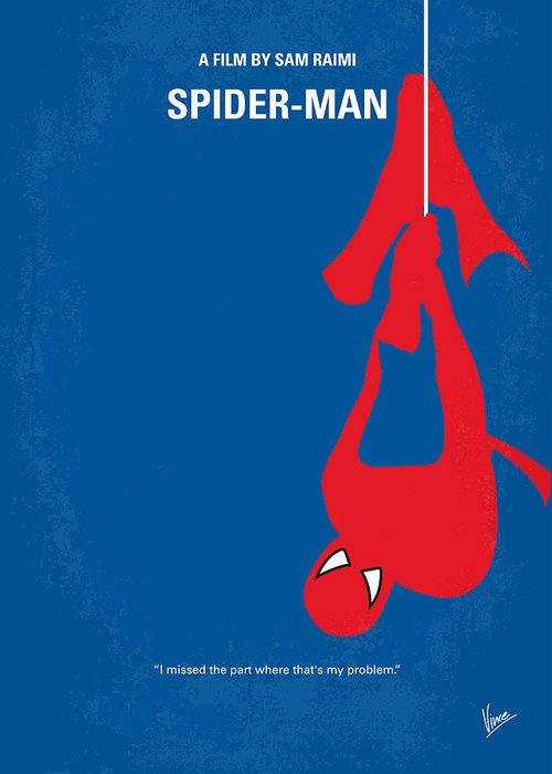 Spider-man Greeting Card featuring the digital art No201 My Spiderman Minimal Movie Poster by Chungkong Art