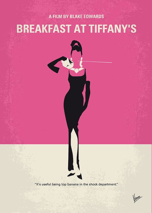 Breakfast Greeting Card featuring the digital art No204 My Breakfast At Tiffanys Minimal Movie Poster by Chungkong Art