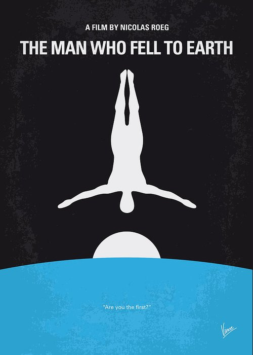 Man Greeting Card featuring the digital art No208 My The Man Who Fell To Earth Minimal Movie Poster by Chungkong Art