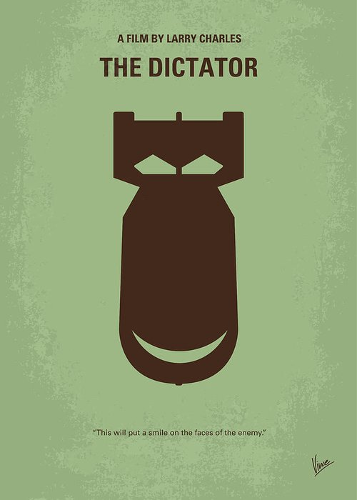 The Greeting Card featuring the digital art No212 My The Dictator Minimal Movie Poster by Chungkong Art