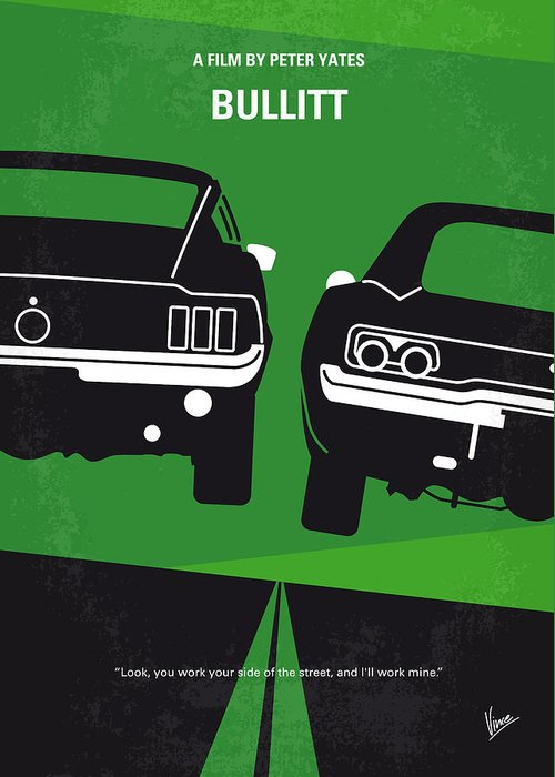Frank Greeting Card featuring the digital art No214 My BULLITT minimal movie poster by Chungkong Art