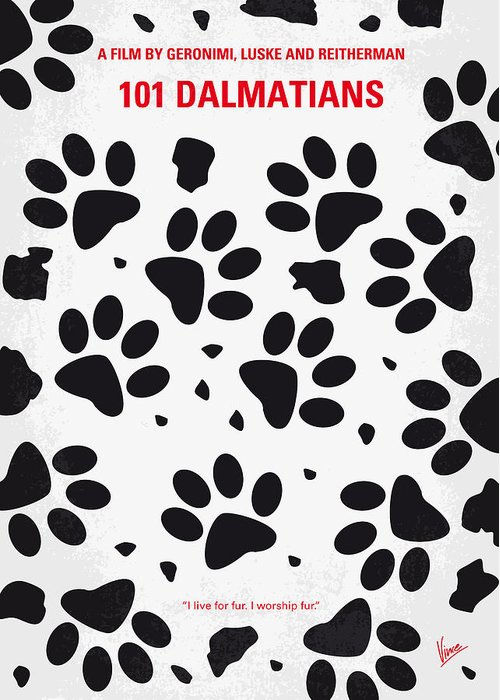 101 Greeting Card featuring the digital art No229 My 101 Dalmatians Minimal Movie Poster by Chungkong Art