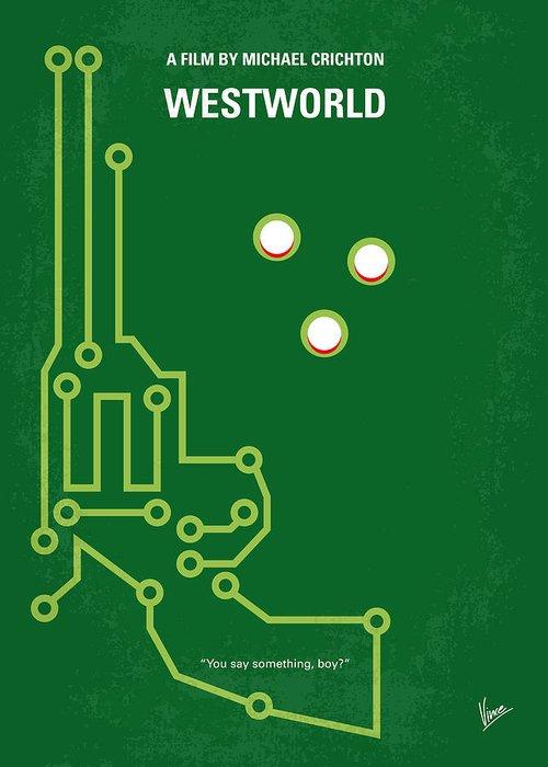 Westworld Greeting Card featuring the digital art No231 My Westworld Minimal Movie Poster by Chungkong Art