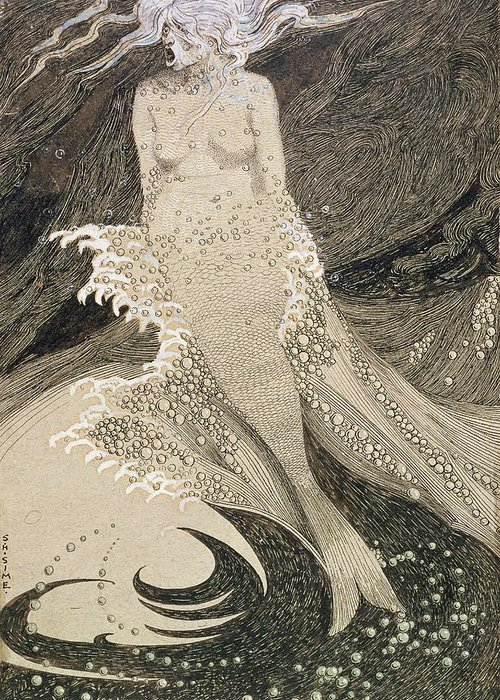 Drawing Greeting Card featuring the drawing The Mermaid by Sidney Herbert Sime