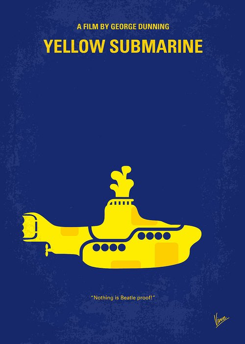 Yellow Greeting Card featuring the digital art No257 My Yellow Submarine Minimal Movie Poster by Chungkong Art