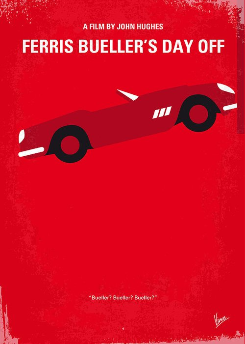 Ferris Greeting Card featuring the digital art No292 My Ferris Bueller's Day Off Minimal Movie Poster by Chungkong Art