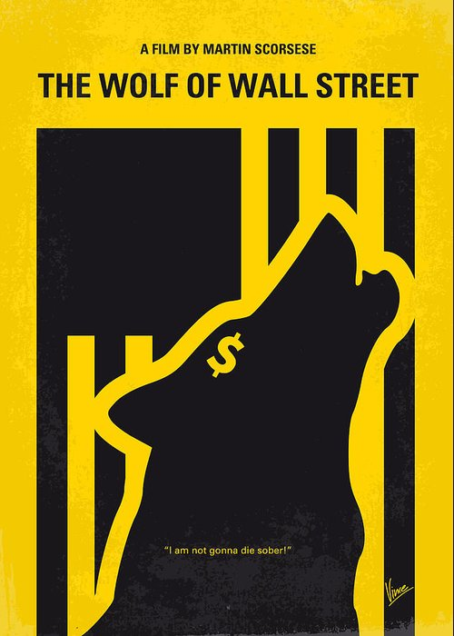 The Greeting Card featuring the digital art No338 My Wolf Of Wallstreet Minimal Movie Poster by Chungkong Art