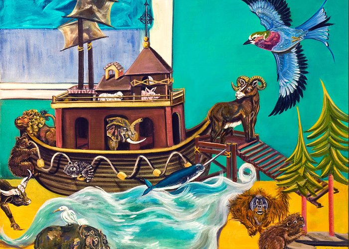 Susan Culver Fine Art Prints Greeting Card featuring the painting Noah's Ark Second Voyage by Susan Culver