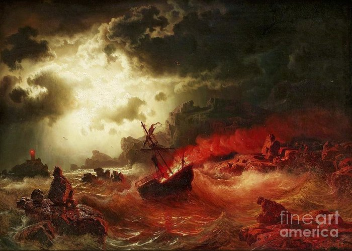 Pd Greeting Card featuring the painting Nocturnal Marine With Burning Ship by Pg Reproductions