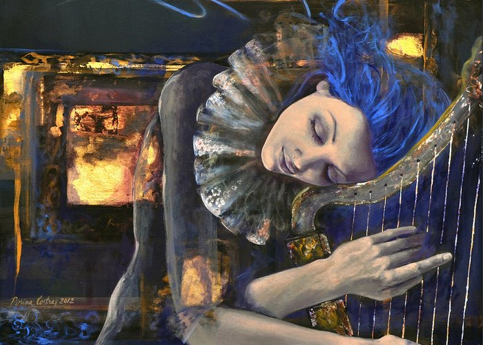 Fantasy Greeting Card featuring the painting Nocturne by Dorina Costras