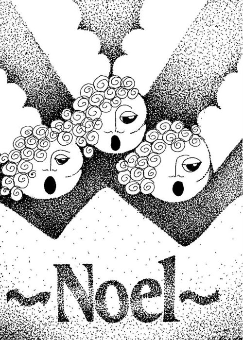 Noel Design Greeting Card featuring the drawing Noel Angels by Joy Bradley