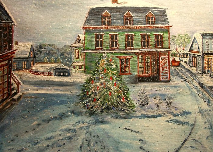 Winter Greeting Card featuring the painting Noel in Dock Square by Kenneth LePoidevin