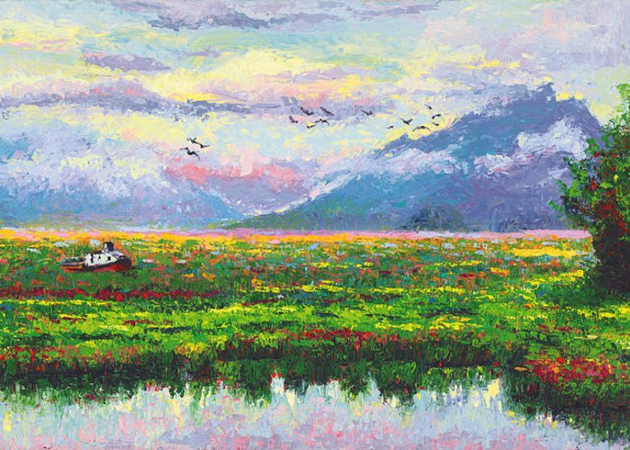 Landscape Greeting Card featuring the painting Nomad - Alaska Landscape With Joe Redington's Boat In Knik Alaska by Talya Johnson