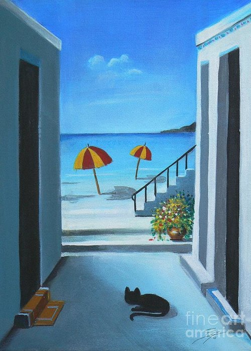 Beach Greeting Card featuring the painting Noon at the Beach by - Artificium -