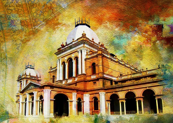 Pakistan Greeting Card featuring the painting Noor Mahal by Catf