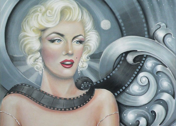 Marylin Monroe Greeting Card featuring the painting Norma Jean's Dream by - Artificium -