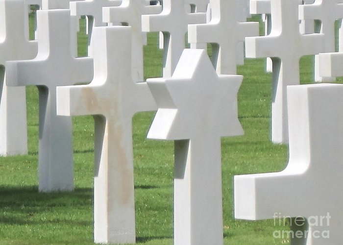 Memorial Greeting Card featuring the photograph Normandy American Cemetery by HEVi FineArt
