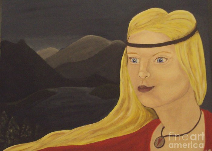 Pagan Greeting Card featuring the painting Norse Goddess Freya by Megan Cockrell