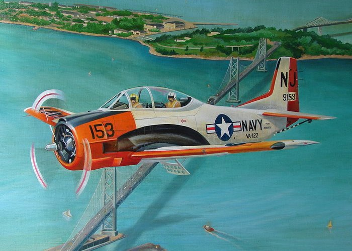 Aviation Greeting Card featuring the painting North American T-28 Trainer by Stuart Swartz